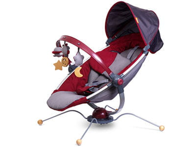 les pattes du fauteuil bougent au rythme de la musique, pour bercer bébé