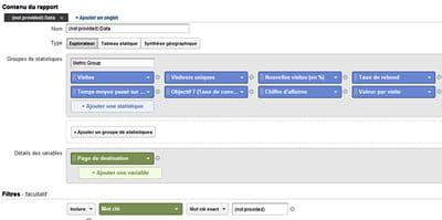les paramètres durapport 'seo: (not provided) analysis' proposé par google. il