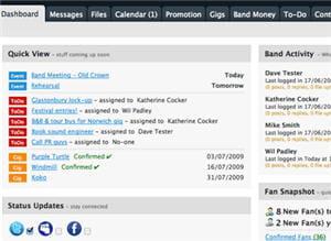 interface de gestion d'un groupe sur bandcentral.com
