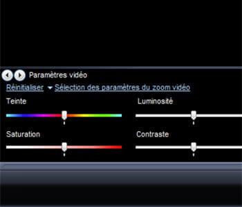les options de réglages des paramètres d'un fichier vidéo.