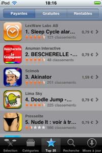le top 25 des applications les plus téléchargées de l'app store