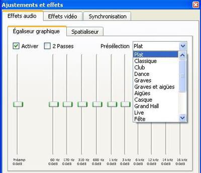 le menu pour régler les effets audio sur vlc