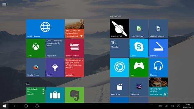 L'écran Modern, conçu pour le tactile, s'active en configuration tablette