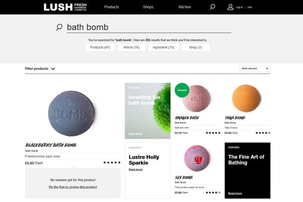 Lush : des résultats éditorialisés