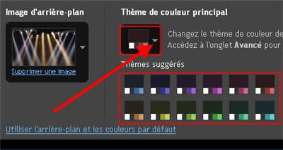 capture d'écran de l'option définir le thème de couleurs avec blogger.