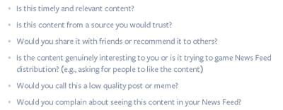 les questions posées par facebook àun échantillon d'utilisateurs pour nourrir