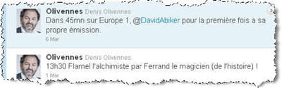 ses tweets sur la programmation d'europe1.