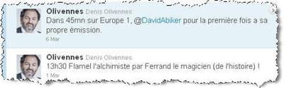 ses tweets sur la programmation d'europe1.