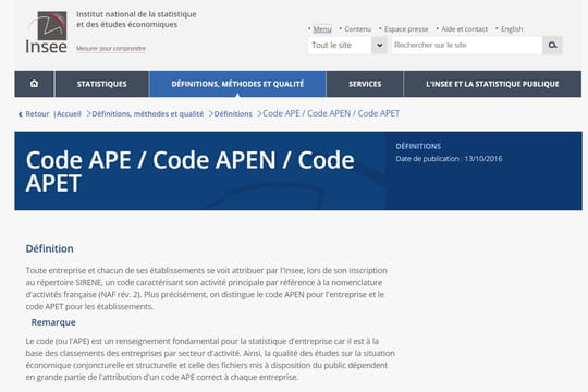 Code Ape Definition Simple Traduction Et Liste