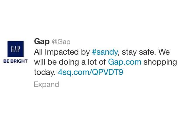 Gap essaie de profiter de l'ouragan Sandy