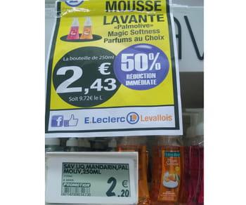le prix de affiche promotionnelle pour ce savon est plus élevé que son prix