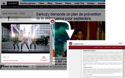 le formatdisplay'slide in' de weborama tente d'informer les internautes sur le