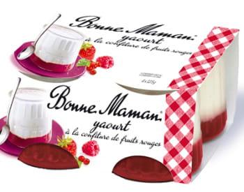 les yaourts à la confiture de fraise bonne maman.