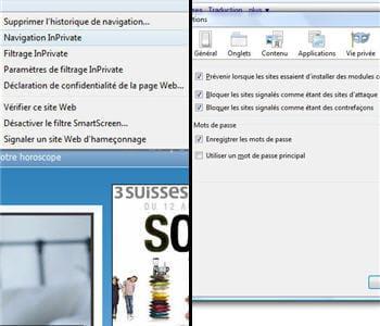 les options de sécurité accessibles à l'utilisateur : internet explorer 9 à