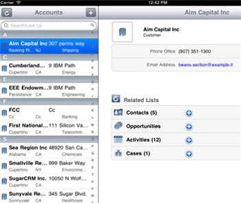ecran de gestion des comptes clients de sugar mobile plus