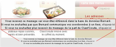 exemple d'une newsletter class' croute, informant les destinataires de la raison