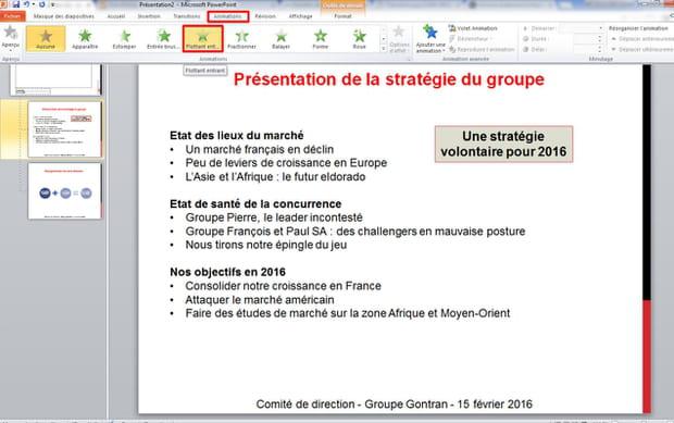 Installer des animations dans les slides