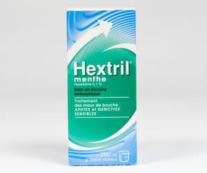 hextril à la menthe 0,1%, flacon de 200ml.