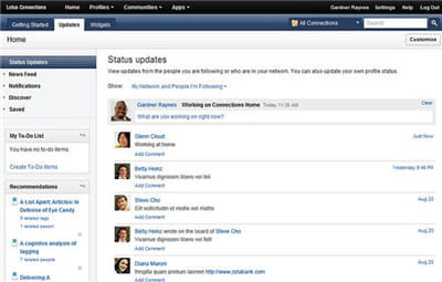 capture d'écran ibm lotus connections