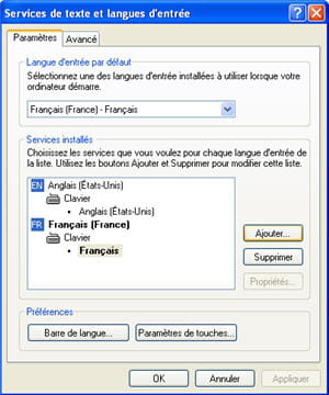 le menu des langues sous windows xp.