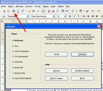 Convertir un document pour le rendre lisible sur pda - Convertir un fichier pdf en open office writer ...
