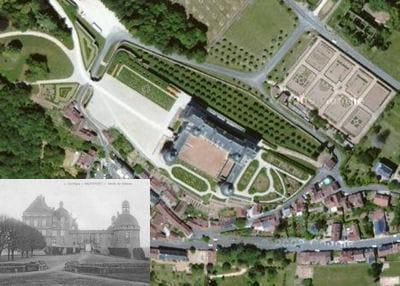 une vue aérienne du château d'hautefort.