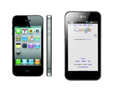 a gauche l'iphone 4, à droite l'optimus 2x de lg