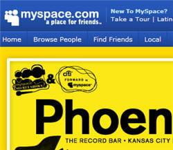 page d'accueil du site myspace.com.