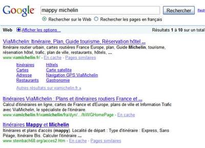 résultats de google pour la requête 'mappy michelin'
