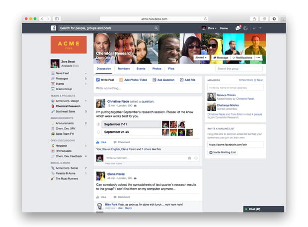 Page d'accueil de Facebook at Work