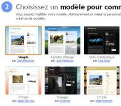 capture d'écran des modèles disponibles à la création d'un blog.