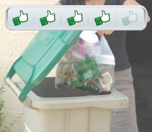 entre 2008 et 2009, la quantité de déchets par habitant a diminué de 15kg.