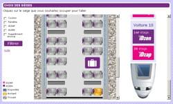 extrait d'une copie d'écran du site d'idtgv permettant de choisir sa place sur