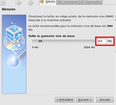 taille mémoire vive - virtualbox