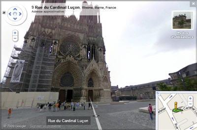 la cathédrale de reims intègre google street view, échafaudages compris