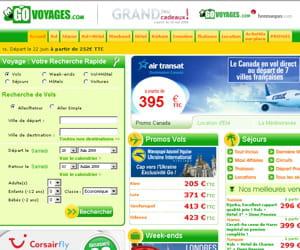 une capture d'écran du site govoyages.com.
