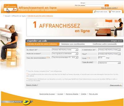 page d'accueil du site colissimo.fr