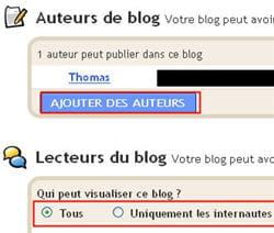 copie d'écran de l'option 'ajouter des auteurs' de blogger.