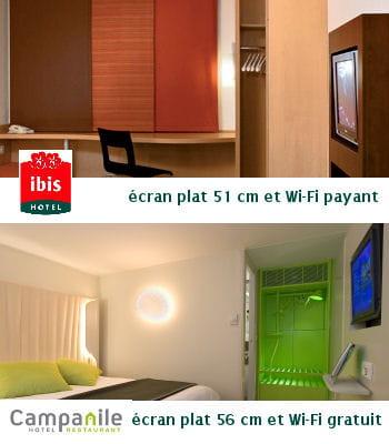 campanile offre le wi-fi gratuit ; un service payant chez ibis.