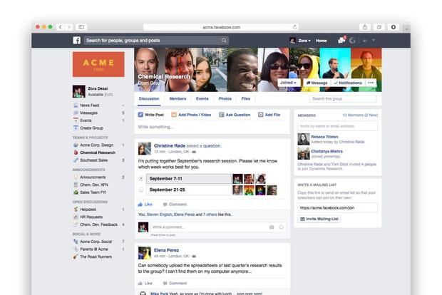 Page d'accueil de Facebook at Work