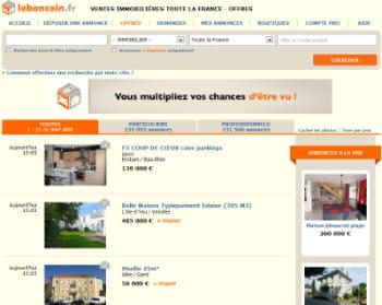 la catégorie 'immobilier' de leboncoin.fr arrive en tête avec 7,4 millions de