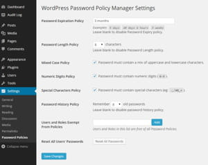 wordpress password policymanager, un exemple de plugin qui permet de renforcer