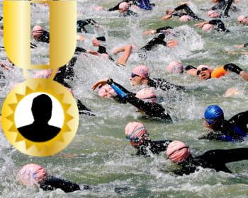 le patron du réseau de supermarché a fini le triathlon d'arcachon.