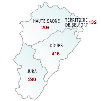 en rouge, le nombre de défaillances dans le département.