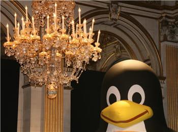 le manchot dans les salons de l'hôtel de ville de paris à l'occasion de paris