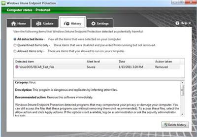 le service de détection des malwares de windows intune