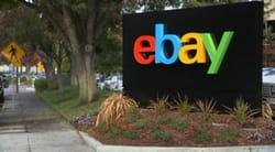 lelogo d'ebay, modifié il y a quelques semaines, devant le siège du site