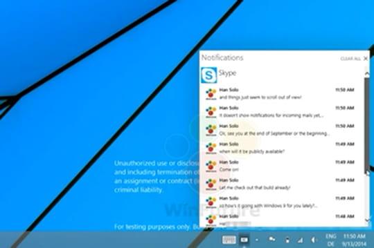 Windows 10 (Threshold) : première vidéo du centre de notifications