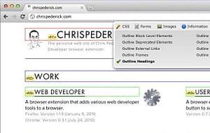 web developper permet de faire apparaître des éléments du code source d'une page