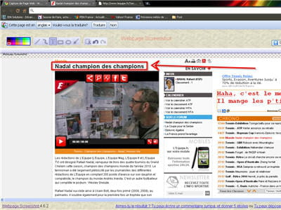 copie d'écran du rendu de l'application sur un article de l'équipe.